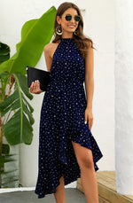 Halter Polka Dot Ruffle Dress