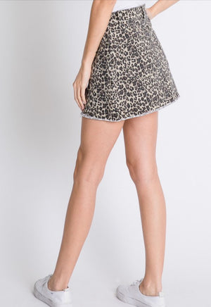 Leopard Distressed Mini Skirt