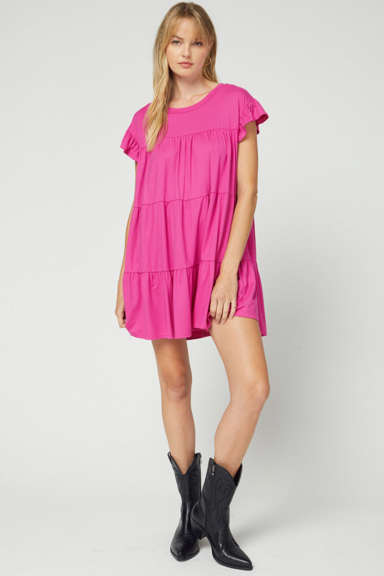 Solid Scoop Neck Tiered Ruffle Dress