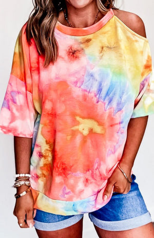 Multicolor Tie Dye Short Sleeve Top