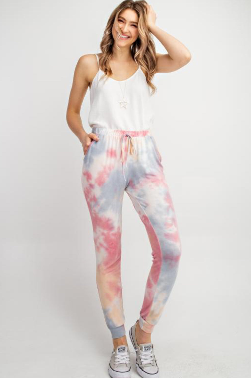 Soft pink and blue tie dye joggers