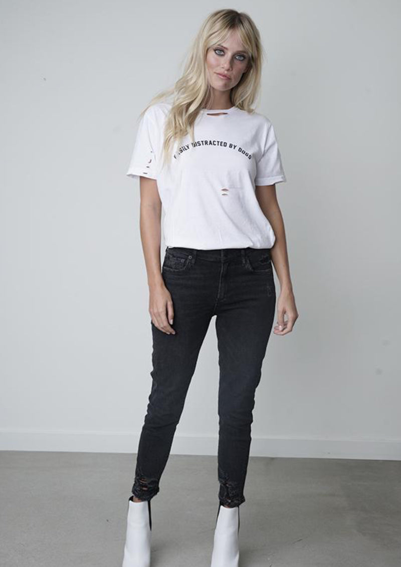 Easily distracted by dogs distressed tee