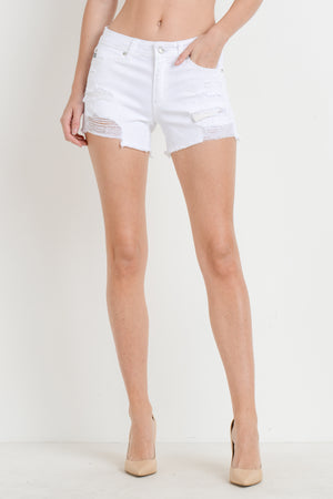 White Destroyed Denim Short