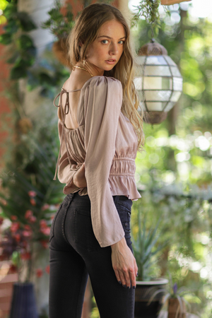 Puff Shoulder Long Sleeve Top