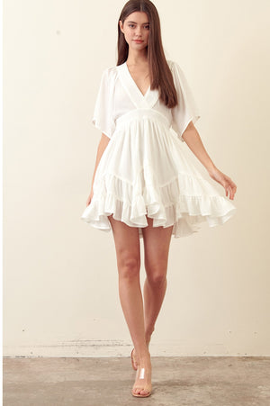 Fit and Flare Ruffle Mini Dress Ivory