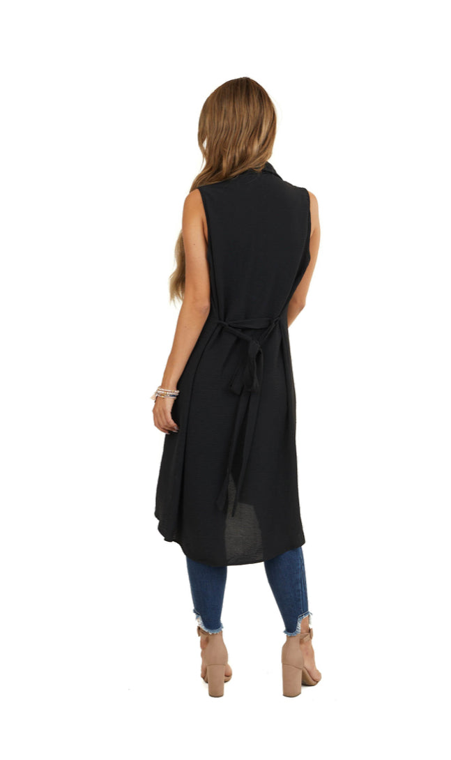 Black Draped Duster