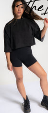 Faded Black Crop Jumper