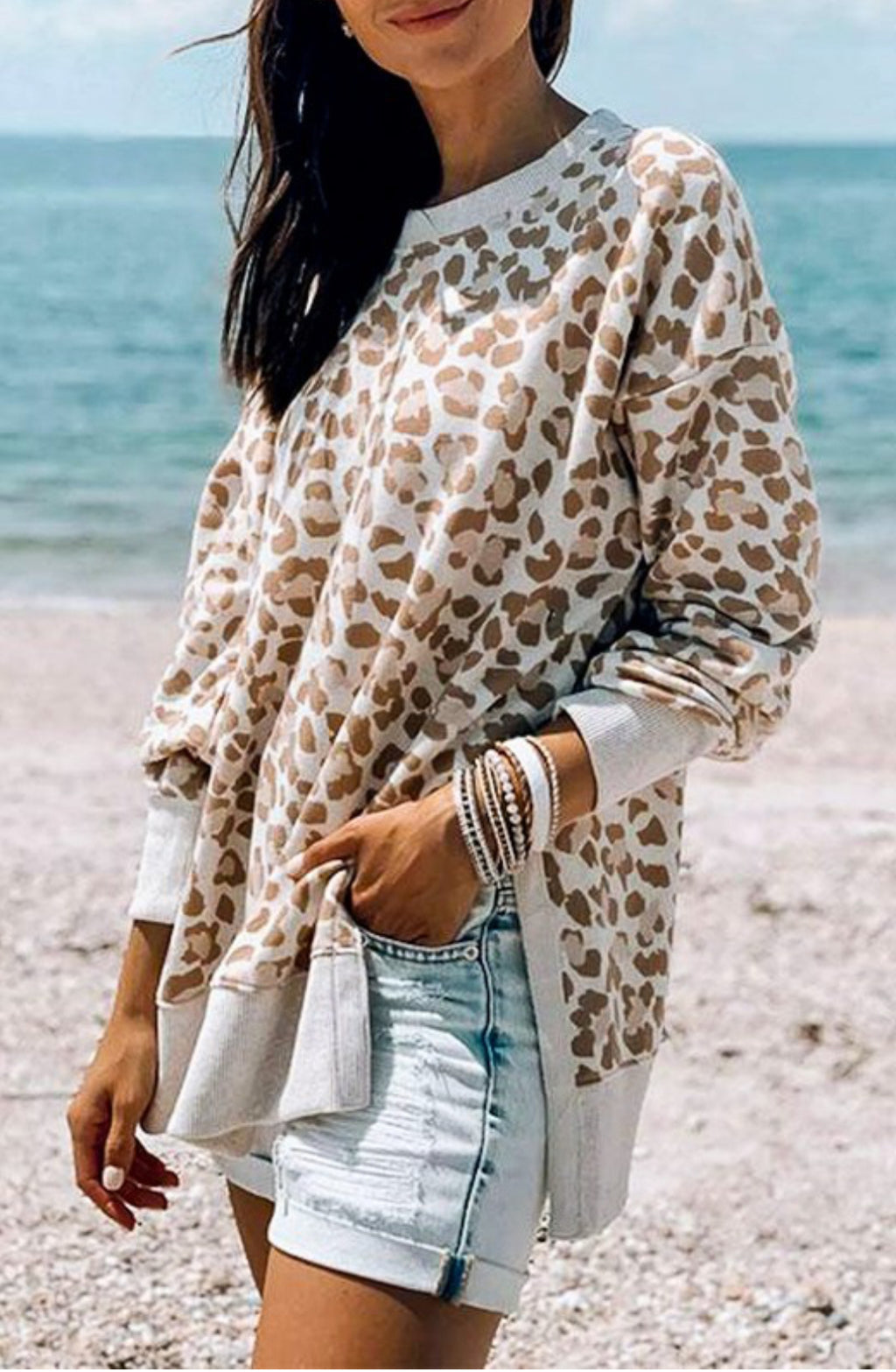 Leopard Print Side Slit Top
