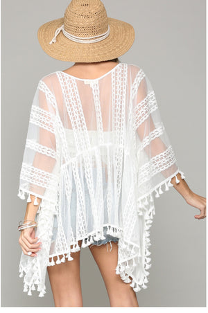 Flowy Sheer and Lace Kimono