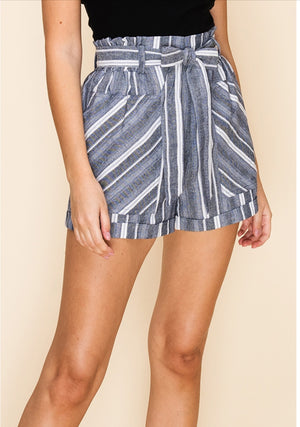 Striped Paper Bag Waisted Shorts