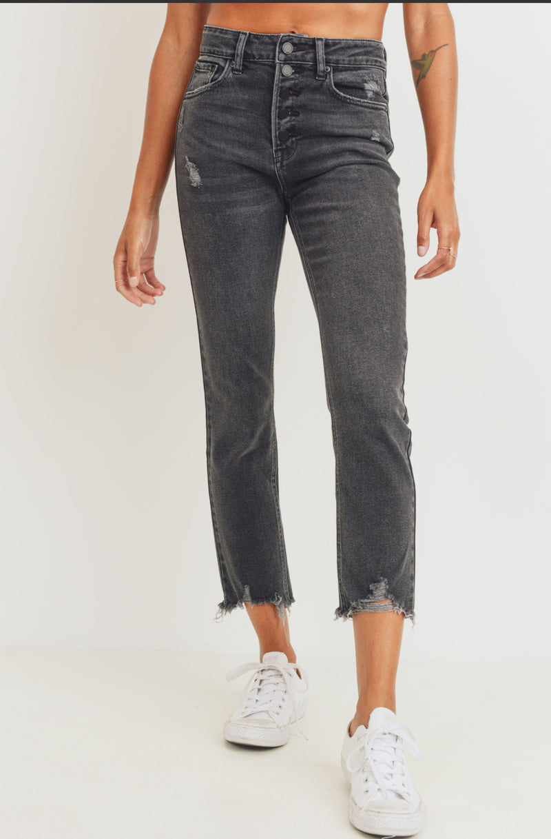 Button Down High Rise Straight Leg Denim