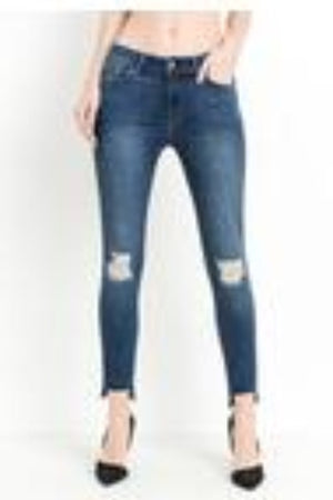 High Rise Skinny with Scissor Step Hem