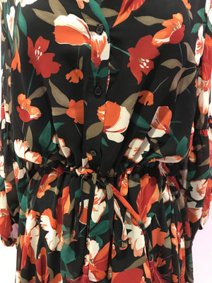 Green and Rust Floral Short Dress