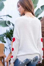 Heart on Your Sleeve Distressed Sweater