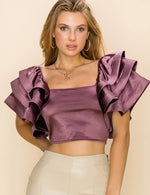 Ruffle Sleeve Back Zip Top