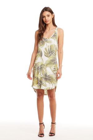 Cool Jersey Ruffle Racer Back Palm Dress