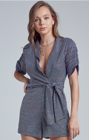 Sequin Shirred Detail  Romper