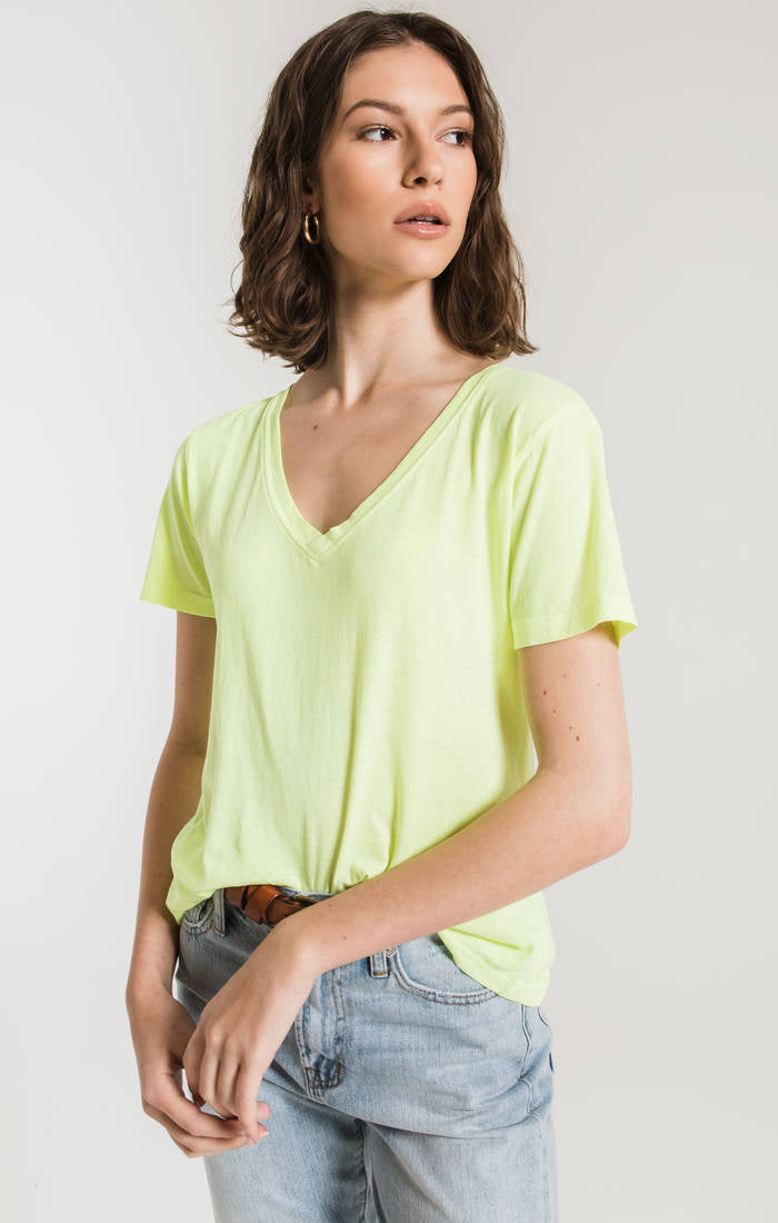 Neon Lime V-Neck T-Shirt