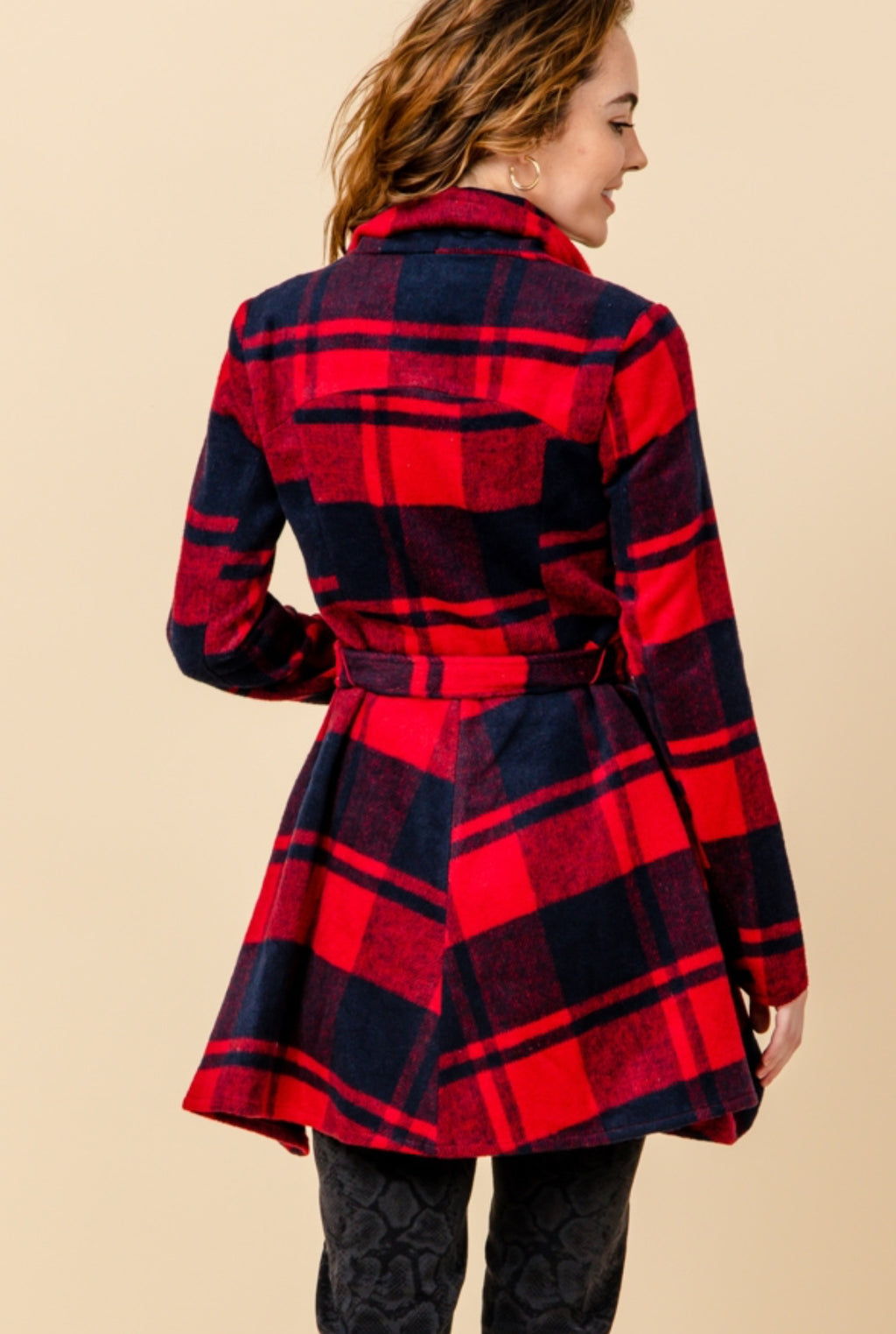 Plaid Shawl Collar Jacket