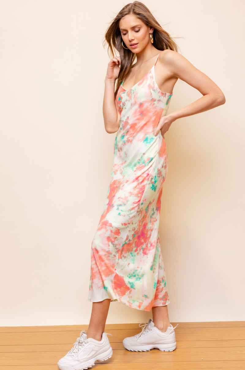 Coral Tie Dye Slip Dress