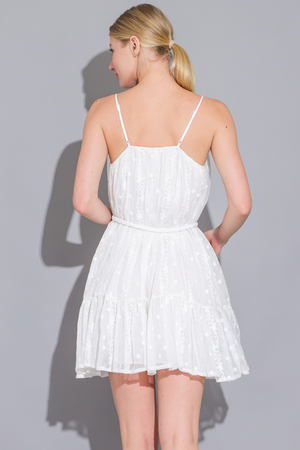 White chiffon strap mini dress