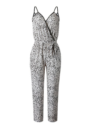 V-Neck Casual Leopard Jumpsuit