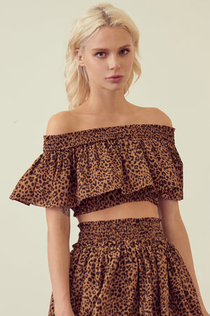 Leopard Off Shoulder Crop Top