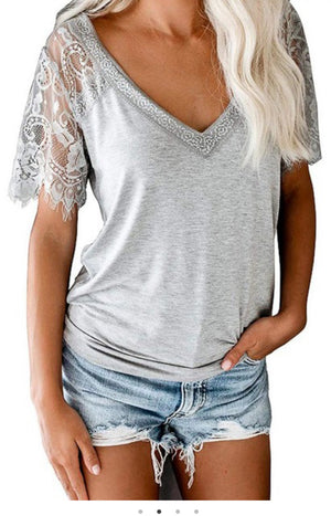 Heather Grey Lace V-Neck Top