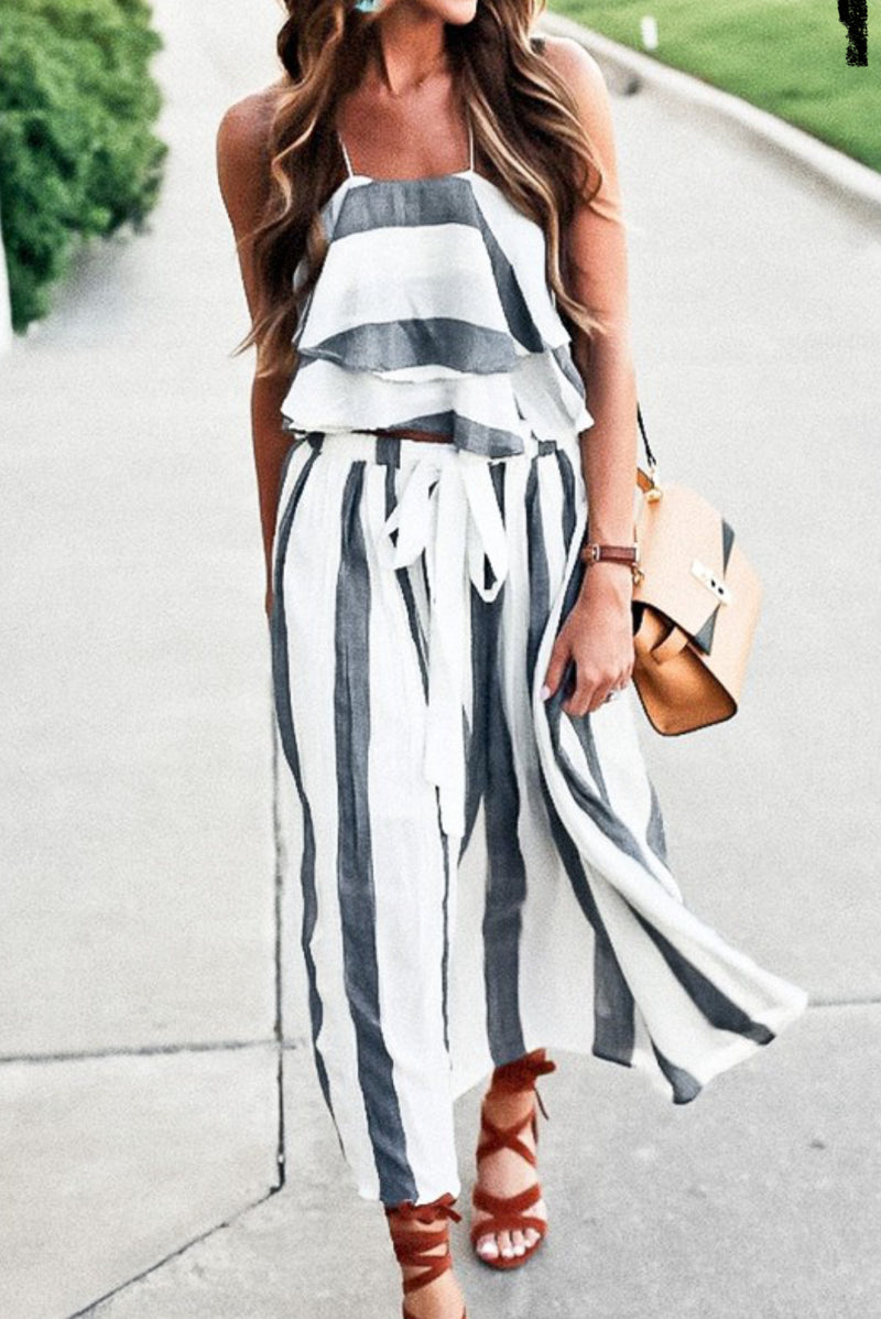 Grey Stripe Two Piece