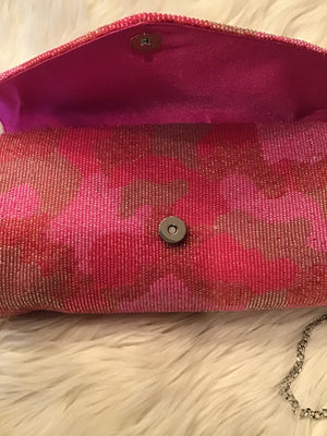 Pink Camo Tongue Hand Beaded Clutch