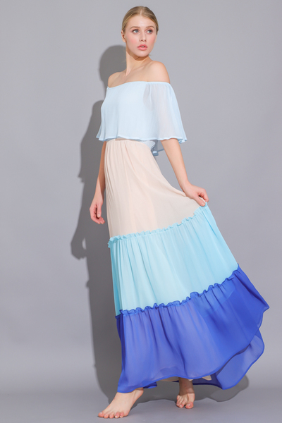 Color Block Tiered Ruffle Dress