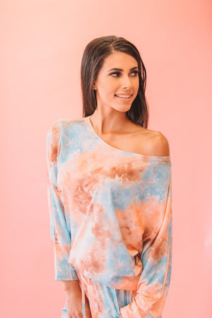 Tie Dye Short Set Orange and Blue