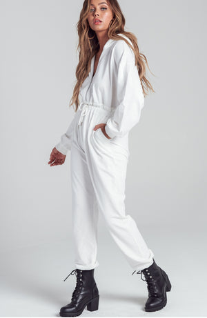 White Jumpsuit Drawstring Waist with Hoodie