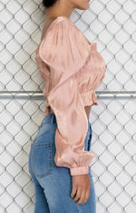 Metallic Blush Long Sleeve Crop Top