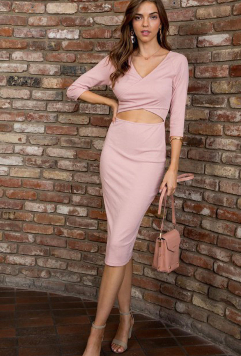 Dusty Rose 3/4 Sleeve Fitted Dress