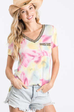 Tie Dye Sequin V-Neck Top
