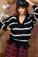 Black and White Frayed Sweater