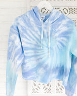 Tie Dye Crop Hoodie Blue Dream Fleece