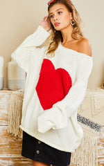 Red Heart Off The Shoulder Sweater