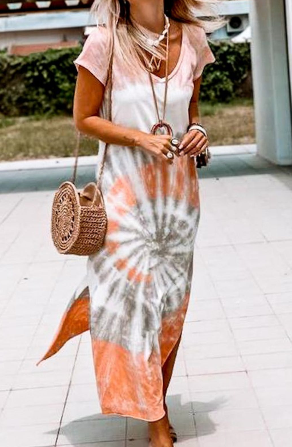 Blue Tone Maxi Tie Dye Dress