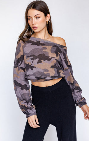 Slouchy Shoulder Camo Top