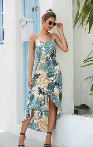 Spaghetti Strap Printed Floral Dress
