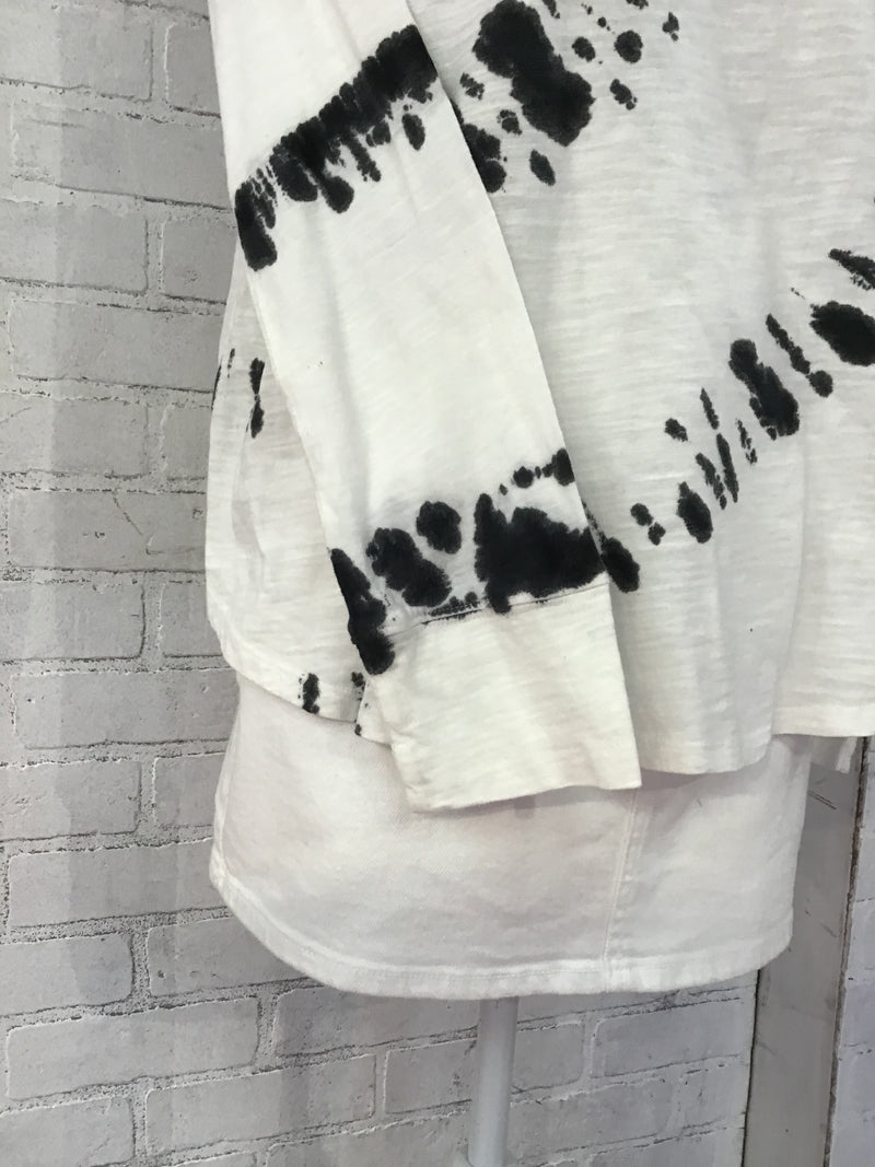 Off White and Black Tie Dye Long Sleeve Shirt