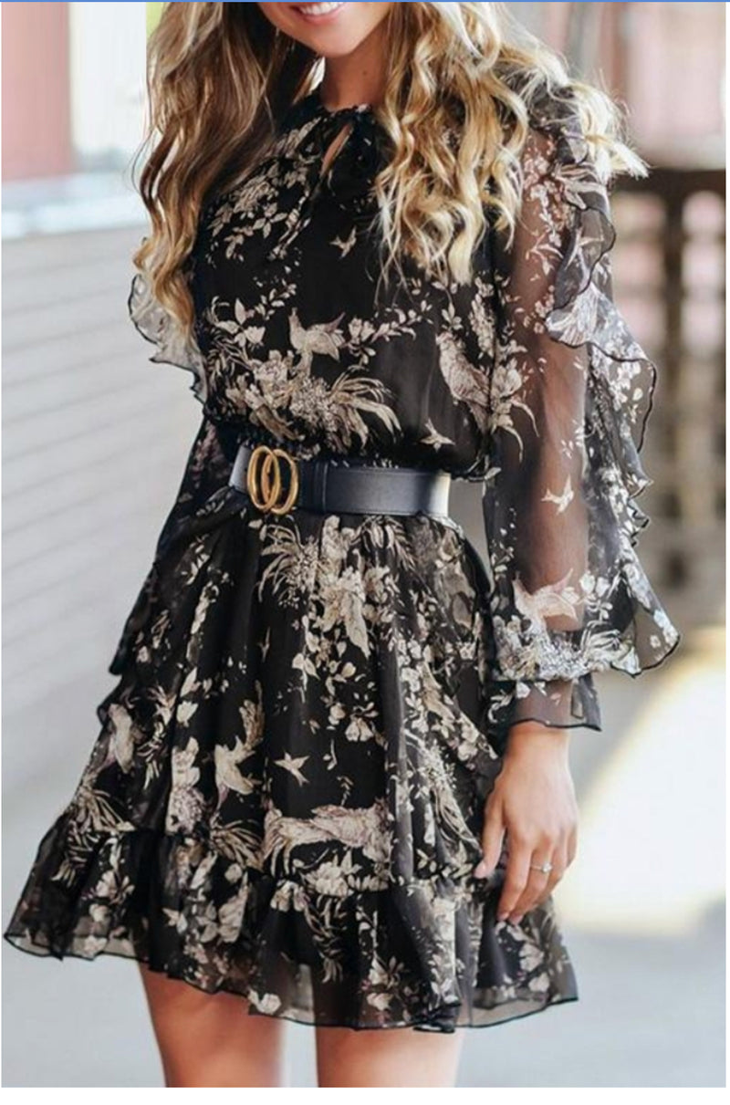 High Waist Flirty Floral Dress