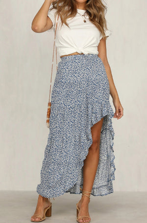 Ruffled Maxi Skirt High Low