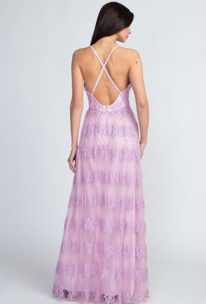 Deep V Lilac Lace Maxi Dress