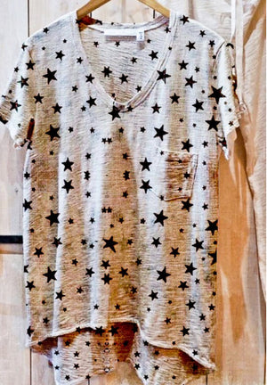 V-Neck Star Print Vintage Top