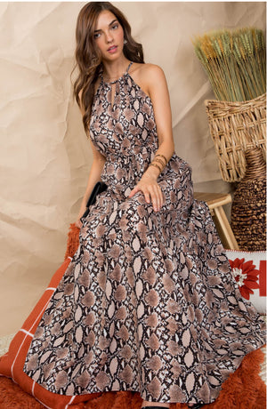 Snakeskin Halter Maxi Dress