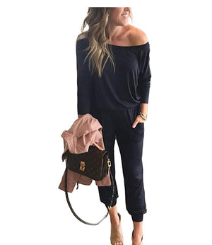 Off Shoulder Three Quarter Sleeve Jumpsuit