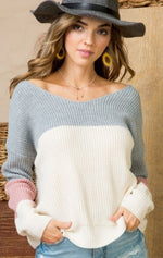 Twist Back Pink Grey White Sweater
